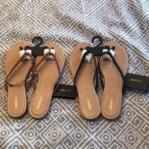 Women's Brand New Brown and Black Flip Flops sz 7